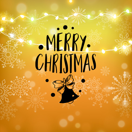 Merry Christmas gold glitter lettering design. Christmas greeting card, poster, banner. Golden glittering snow, snowflakes, white dots on black background. Vector illustration EPS10