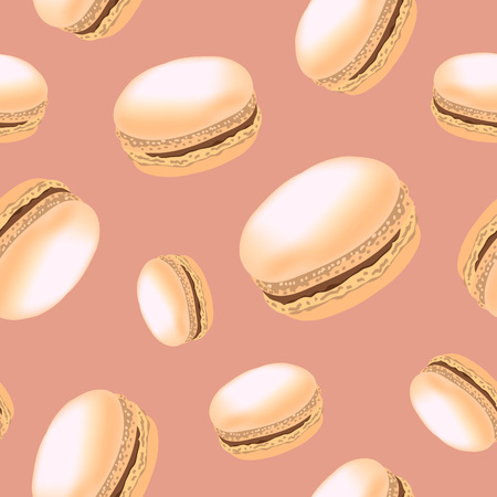Seamless pattern with colorful macaroon cookies on white background. Vector illustration. 矢量图像