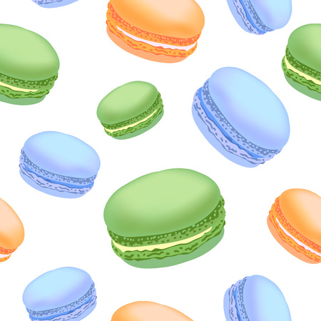 Seamless pattern with colorful macaroon cookies on white background. Vector illustration.