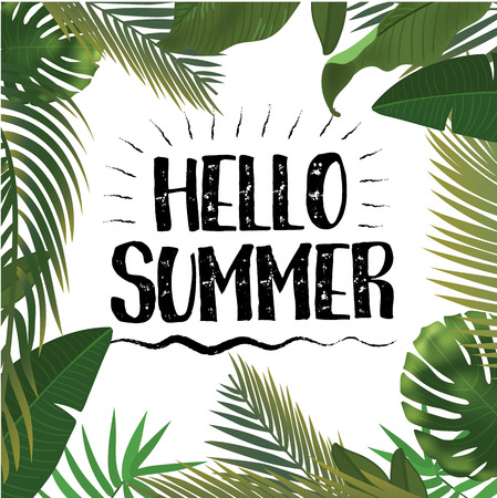 Hello Summer time wallpaper, fun, party, background, picture, art, design, travel, poster, event. Realistic palm leaves. Designed text. Vector illustration