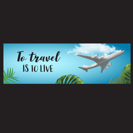 Vector horisontal summer travel banner with realistic plane, cloud and palm leaves