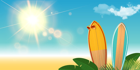 Two Surfboards with sunglasses on the beach. Realistic background with clouds and sun flare. Palm leaves