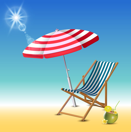 Summer time holiday realistic background. Parasol, chaise lounge, coconut coctail, wooden banner. Vector illustration Vector Illustration
