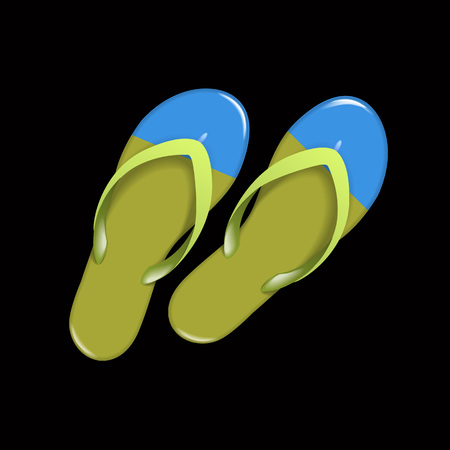 Green realistic Flip Flops Isolated on black background