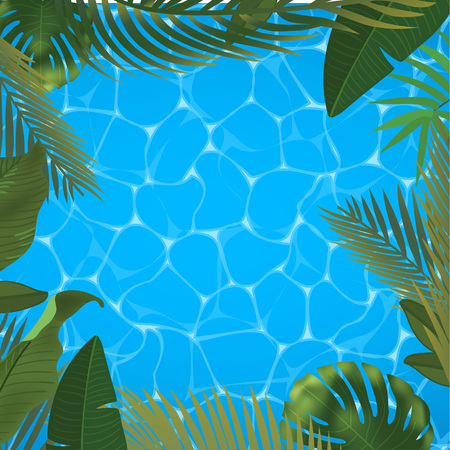 Web summer banner. Green palm leaves template on pool surface background. Realistic picture tropical Paradise for travel and ticket sales. Summer vector realistic illustration. Illusztráció