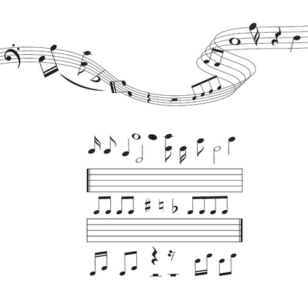 Music notes, musical design element set, isolated. Vector illustration