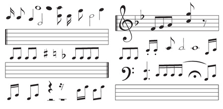 Music notes and keys on white background. Piano keys. Treble clef. Hand drawn effect vector. G-clef. Scribbles. Audio. Piano. Symphony. Song. Sing. Melody Classic music Vector illustration Banque d'images - 126413408