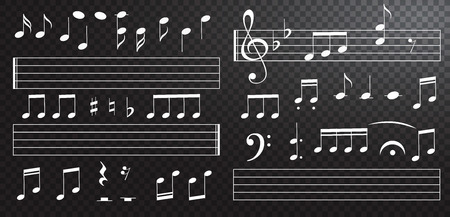 Music notes and keys on black background. Piano keys. Treble clef. Hand drawn effect vector. G-clef. Scribbles. Audio. Piano. Symphony. Song. Sing. Melody Classic music Vector illustration Banque d'images - 126413409