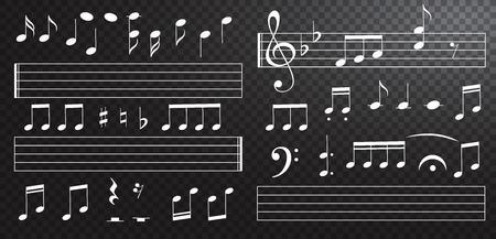 Notes de musique et touches sur fond noir. Touches de piano. Clé de sol. Vecteur d'effet dessiné à la main. G-clef. Griffonnages. L'audio. Piano. Symphonie. Chanson. Chanter. Mélodie Musique classique Illustration vectorielle Vecteurs