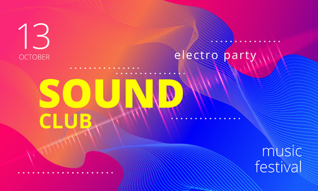 Electronic music poster. Modern club party flyer. Abstract gradients music background. Music fest cover. Vector illustration.