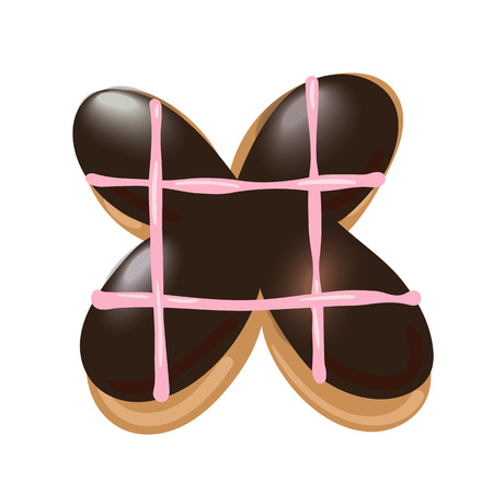 Sweet donut font vector. Letter X. Vector illustration. Ilustrace