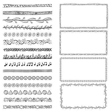 set of hand-drawn doodle frames. Sketch borders. Vector illustration Zdjęcie Seryjne - 125338952