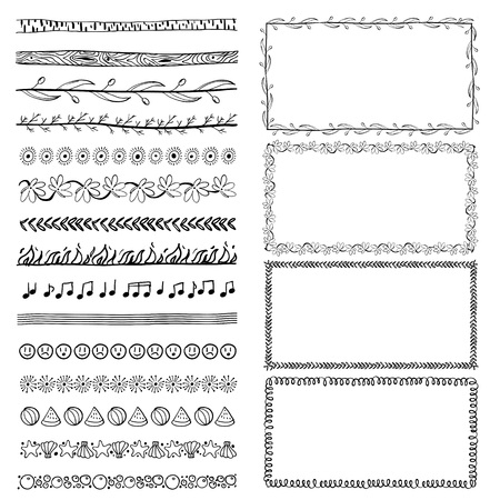 set of hand-drawn doodle frames. Sketch borders. Vector illustration Zdjęcie Seryjne - 125338953