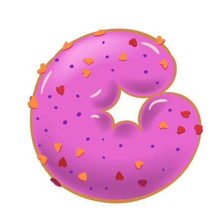 Sweet donut font vector. Letter G. Vector illustration.  イラスト・ベクター素材