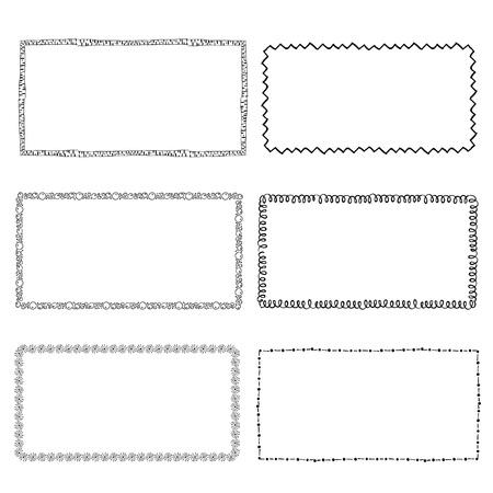 set of hand-drawn doodle frames. Sketch borders. Vector illustration Ilustracja