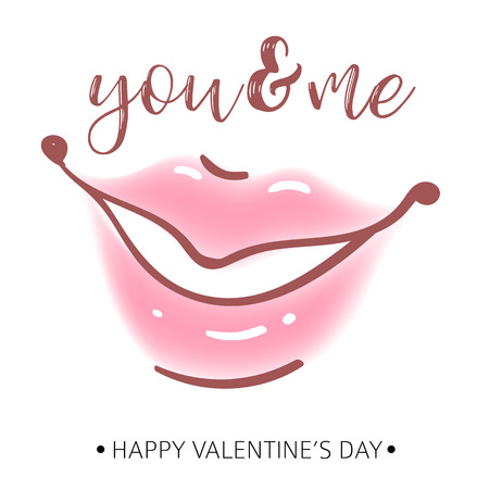 Greeting card. Happy Valentine s day. Women s Lips. Vector.