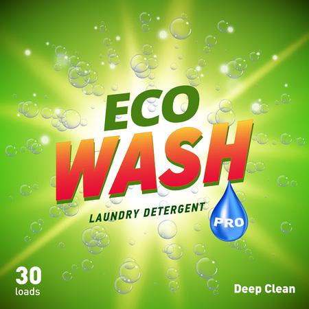 design del concetto di imballaggio del detersivo che mostra pulizia e lavaggio ecologici Vettoriali