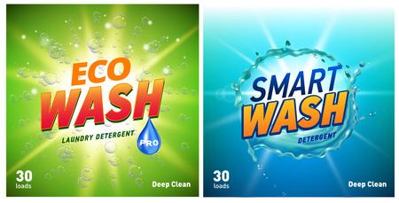 concetto di packaging detergente che mostra pulizia e lavaggio ecologici. Pacchetto detersivo con logo eco.