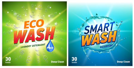 detergent packaging concept design showing eco friendly cleaning and washing. Detergent package with eco logo. Stock Illustratie
