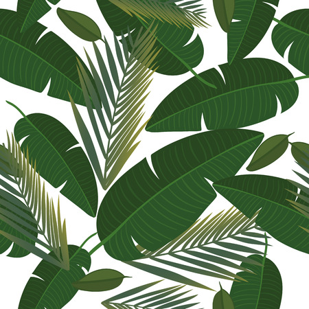 Seamless pattern with and tropical leaves. Exotic botanical background design for cosmetics, spa, textile, hawaiian shirt. Best as wrapping paper, wallpaper. Vector illustration