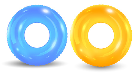 Group of colorful pool ring isolated on white background. Set of realistic inflatable rings isolated on white background. Vector illustration