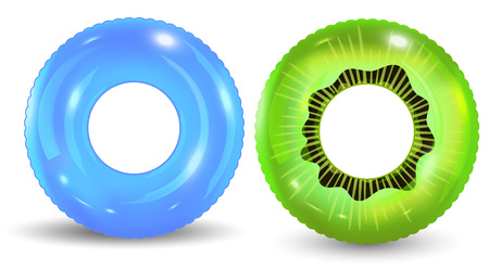 Group of colorful pool ring isolated on white background. Set of realistic inflatable rings isolated on white background. Vector illustration Vetores