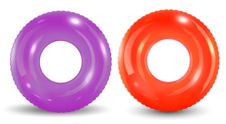 Grupo de anillo de piscina colorido aislado sobre fondo blanco.