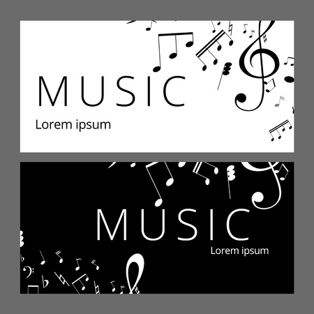Set of abstract banners with black and white music key and notes. Banner template for music festive and party. Vector paper illustration. Illustration
