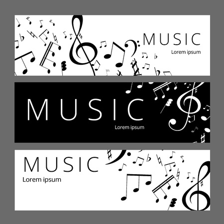 Set of abstract banners with black and white music key and notes. Banner template for music festive and party.