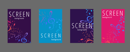 Musical banner with colored key notes. Abstract music background. Vector llustration.
