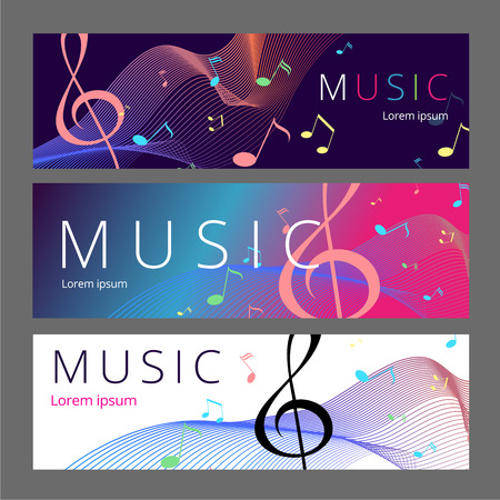 Set of abstract banners with colored music key and notes. Banner template for music festive and party. Vector paper illustration.
