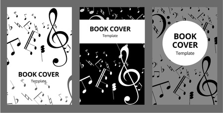 Music key nd notes vector brochure cards set. Audio tools template of flyear, magazines, poster, book cover, banners. Concert invitation concept background. Layout illustration modern page background