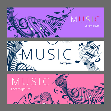 Set of abstract banners with colored music key and notes. Banner template for music festive and party. Vector paper illustration. Banque d'images - 124991819