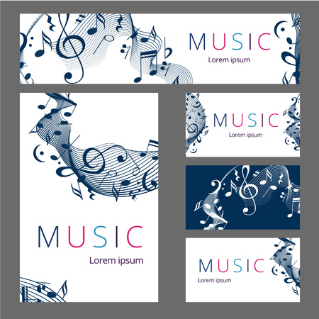 Set of templates with poster, brochure, ticket, program event and VIP. Treble clef illustration with brush strokes and colors. Texture watercolor effect. Vector illustration Illustration