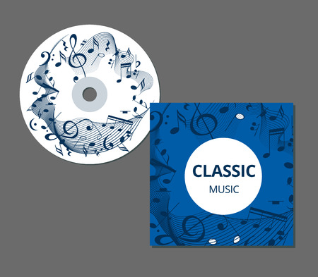 Blue and violet music background with clef and notes, music sheet in rounded frame, musical theme template for your design. CD cover template. Vector illustration