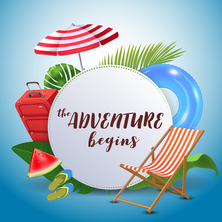 The adventure begins. Inspirational quote motivational background. Summer design layout for advertising and social media. Realistic tropical beach design elements.