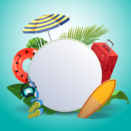 Summer sale background layout for banners. voucher discount. Tropical beach design elements. Vector illustration template.