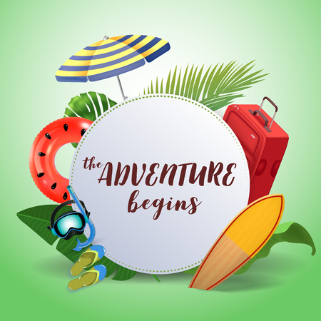 The adventure begins. Inspirational quote motivational background. Summer design layout for advertising and social media. Realistic tropical beach design elements. Ilustração