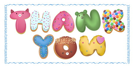 Hand drawn type that says Thank you in the shape of delicious and colorful cookies on a flyer, brochure, poster template layout. Vector illustration