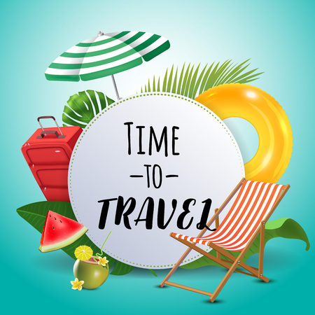 Time to travel. Inspirational quote & motivational background. Summer design layout for advertising and social media. Realistic tropical beach design elements. Vector illustration Illustration