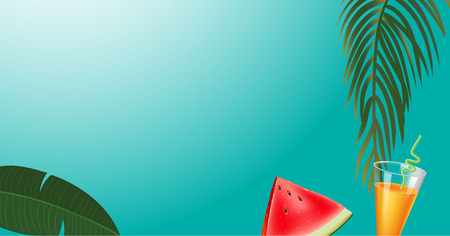 green palm leaf branches and other beach elements on bright blue background. Realistic orange juice and watermelon. Vector illustration, top view