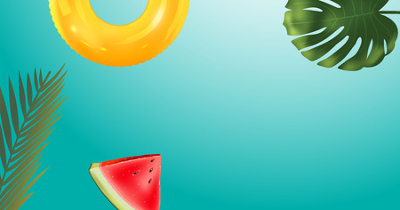 green palm leaf branches and other beach elements on bright blue background. Realistic inflatable ring and watermelon. Vector illustration, top view