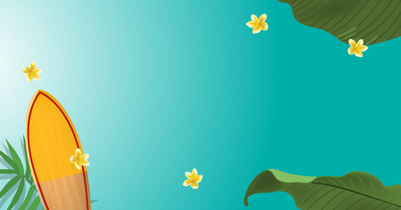 green palm leaf branches and other beach elements on bright blue background. Realistic surfing board and frangipani flowers. Vector illustration, top view