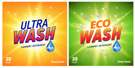 detergent packaging concept design showing eco friendly cleaning and washing. Detergent package with eco logo. Illustration