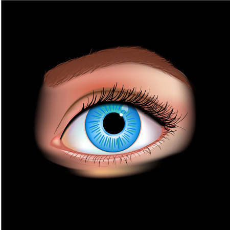 Realistic vector set of human eye close-up. Human eye blue isolated on black photorealistic vector illustration