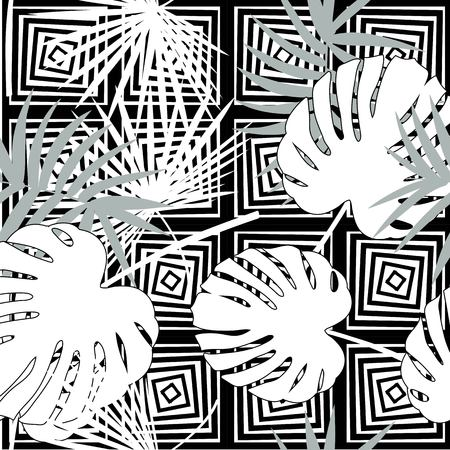 Tropical seamless vector floral pattern with palm leaves, jungle leaf. Tropic monochrome background, black and white illustration. Abstract texture, polka dot Standard-Bild - 124561835