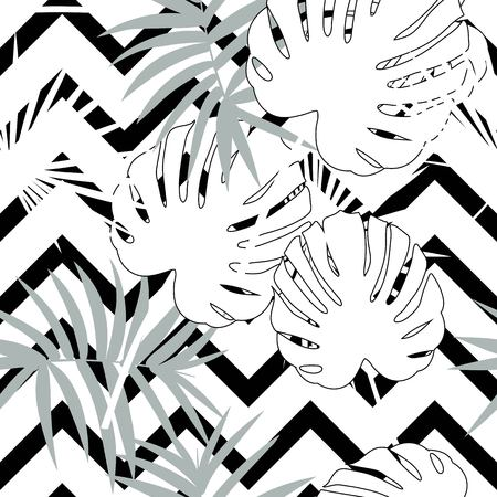 Tropical seamless vector floral pattern with palm leaves, jungle leaf. Tropic monochrome background, black and white illustration. Abstract texture, polka dot Standard-Bild - 124561839