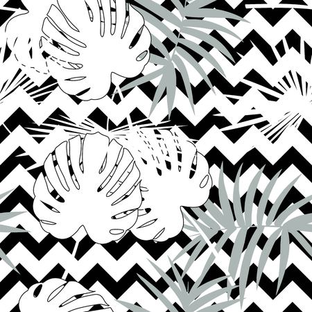 Tropical seamless vector floral pattern with palm leaves, jungle leaf. Tropic monochrome background, black and white illustration. Abstract texture, polka dot Standard-Bild - 124561840