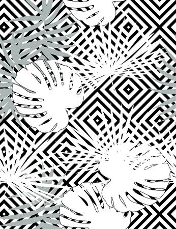 Tropical vector floral pattern with palm leaves, jungle leaf. Tropic monochrome background, black and white illustration. Abstract texture, polka dot Standard-Bild - 124561841