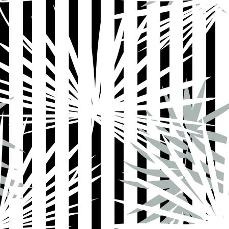 Tropical seamless vector floral pattern with palm leaves, jungle leaf. Tropic monochrome background, black and white illustration. Abstract texture, polka dot Standard-Bild - 124561842
